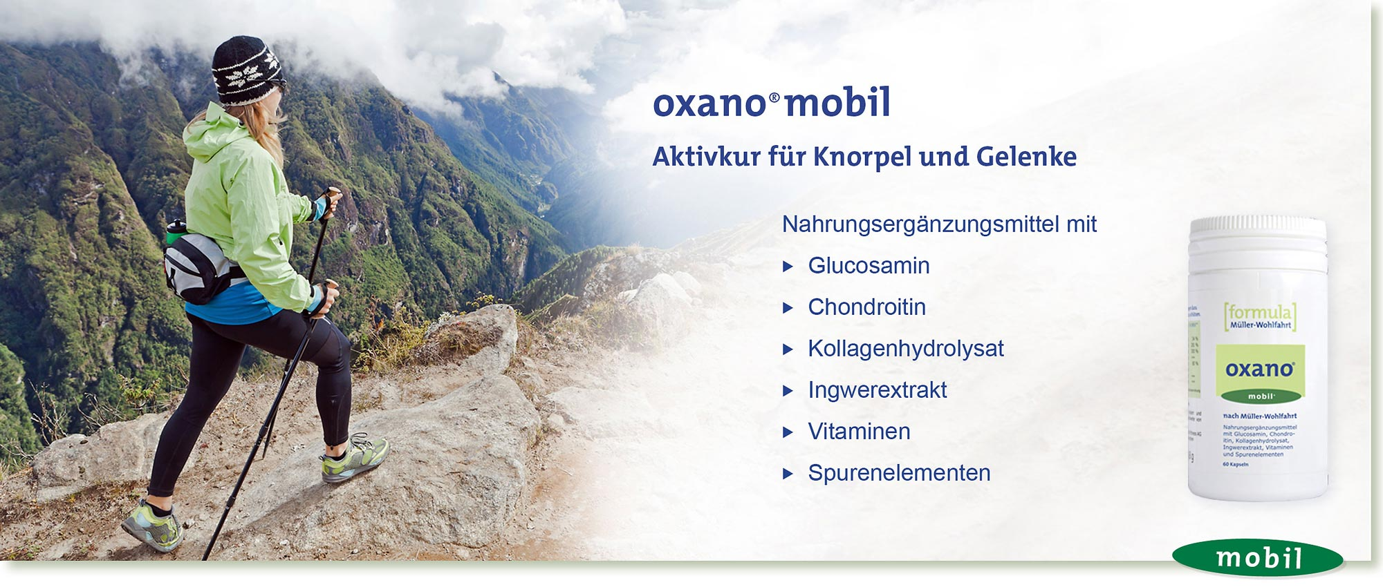 HeadImage | OXANO-Mobil Gelenk-Kapseln nach Müller-Wohlfahrt mit Glucosamin, Chondroitin, Kollagenhydrolysat, Ingwerextrakt